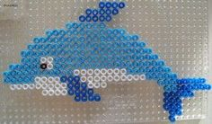 Dolphin hama perler beads by Les Loisirs de Pat Plus Perler Bead Designs, Perler Bead Templates, Hama Beads Design, Perler Beads, Perler Bead Art, Fuse Beads, Fuse Bead Patterns, Perler Patterns, Beading Patterns