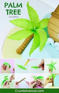 FREE Palm Tree TUTORIAL fondant gum paste step by step instructions tree beach pirate tropical jungle theme leaves leaf cake decorating sugar art Crumb Avenue kids cake. Fondant Tree, Fondant Cake Toppers, Fondant Flowers, Fondant Figures, Fondant Cakes, Cupcake Toppers, Fondant Flower Tutorial, Cake Topper Tutorial, Palm Tree Cakes