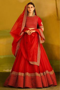 Red Colour Taffeta Silk Fabric Party Wear Lehenga Choli Comes With Matching Blouse. This Lehenga Choli Is Crafted With Embroidery. This Lehenga Choli Comes With Unstitched Blouse Which Can Be Stitched. Red Wedding Lehenga, Wedding Lehenga Designs, Red Lehenga, Party Wear Lehenga, Bridal Lehenga Choli, Indian Lehenga, Gota Patti Lehenga, Saree, Indian Wedding Guest Dress