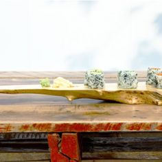 Rong salvaged a Manitoba maple log and shaped them into boards for serving charcuterie, cheese and sushi. Outdoor Furniture, Outdoor Decor, Entryway Tables, Charcuterie Cheese, Sushi Sushi, Woodworking, Asian, Shapes, Wood Work