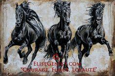 Elise Genest - Noble Running Black Friesians.