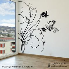 60027 household-items Flower vine With butterfly Wall Stickers Decal Removable Art Home Mural Vinyl Au  BUY IT NOW ONLY  $99.99 Flower vine With butterfly Wall Stickers Decal Removable Art Home Mural Vinyl Au...