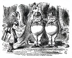 Tweedledum and Tweedledee — Illustration to the fourth chapter of Through the Looking Glass by John Tenniel.