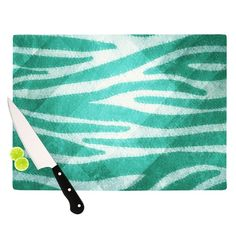 "Nick Atkinson ""Blue Zebra Print Texture"" Cutting Board"