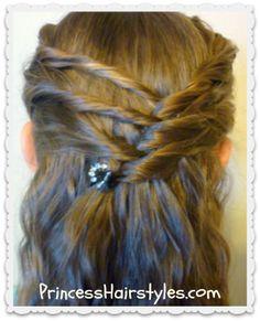 Cute Half Up Hair style - Criss Cross Twists princesshairstyles.com