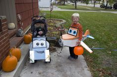 Disney's Planes movie characters Dusty Crophopper and Dottie the mechanic! I made them with cardboard, duct tape and masking tape. Random household supplies used for the details. My boys were so cute :)