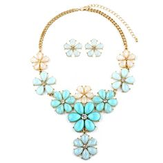 Mint Flower Power Statement Necklace Set $38.95 perfect spring accessory Bella Bridal & Heirlooms
