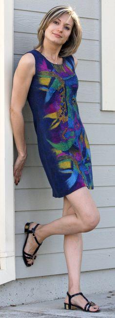 Navy blue short sleeveless felted dress abstract design wool