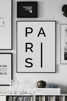 Paris Home Decor Typography France City Print by ANamDesign