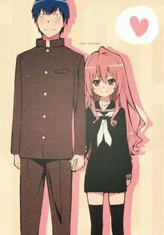 Anime/manga: Toradora Characters: Ryuuji and Taiga cause only a dragon can stand beside a tiger