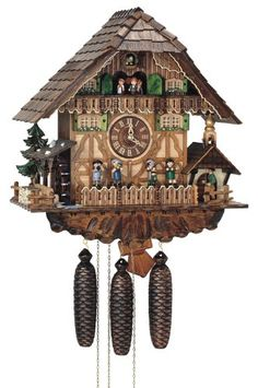 Amazon.com: River City Clocks Eight Day Musical Cuckoo Clock Cottage, Moving Oompah Band and Waterwheel: Home & Kitchen