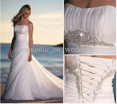 New Beach White/Ivory bead Wedding Dress Bridal Gown Custom Size 6 8 10 12 14 16 in Clothing, Shoes & Accessories, Wedding & Formal Occasion, Wedding Dresses Lace Beach Wedding Dress, Wedding Dresses 2014, Bridal Dresses, One Shoulder Wedding Dress, Wedding Gowns, Bridesmaid Dresses, Ivory Wedding, Mermaid Wedding, Formal Wedding