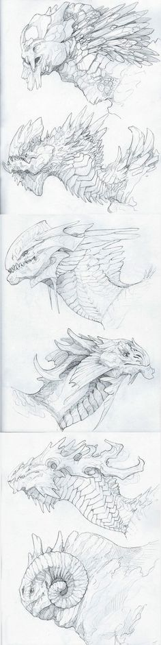 Here I have saved various dragon head drawings. These are bigger built dragons that live in different conditions. Some of these I could adapt to underground conditions. Dragon Head, Dragon Art, Creature Concept Art, Creature Design, Dragon Sketch, Monster Design, Monster Art, Mythical Creatures, Drawing Reference