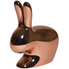 Qeeboo Rabbit Chair - Metallic Copper (7.050 DKK) ❤ liked on Polyvore featuring home, furniture, chairs, accent chairs, copper, modern classic furniture, contemporary furniture, contemporary accent chairs, bunny chair and modern contemporary furniture