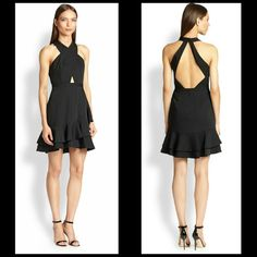 BCBG Cocktail Dress Fitted cut out top w/ ruffled skirt. In brand new condition. BCBGMaxAzria Dresses Mini