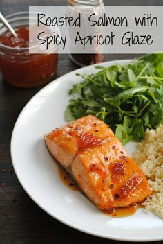Roasted Salmon with Spicy Apricot Glaze - a healthy meal that comes together in THREE MINUTES, plus roasting. Roasted Salmon with Spicy Apricot Glaze – a healthy meal that comes together in THREE MINUTES, plus roasting. Fish Dishes, Seafood Dishes, Seafood Recipes, Dinner Recipes, Cooking Recipes, Healthy Recipes, Main Dishes, Seafood Meals, Shellfish Recipes