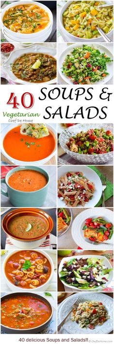 40 delicious and healthy vegetarian soups and salads to enjoy for any meal of the day. Great to make ahead.