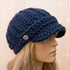 f478e72e1c7 Crochet Newsboy Hat - Navy Blue - For Women - Made to Order
