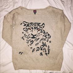 woman's cheetah print sweatshirt woman's creme color print dressy sweatshirt blouse size: S but can fit a medium or even like a L in great condition! bebe Tops Sweatshirts & Hoodies