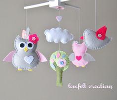 Baby Crib Mobile - Baby Mobile - Owl and birds mobile - Pottery Barn Brooke Bedding