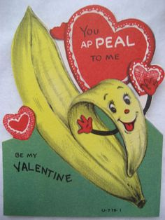 Vintage Valentine Card Anthropomorphic Banana