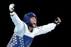 London 2012 - Jade Jones of Great Britain celebrates defeating Yuzhuo Hou of China during the Women's -57kg Taekwondo gold medal final on Day 13 of the London 2012 Olympic Games at ExCeL on August 9, 2012 in London, England.  Getty