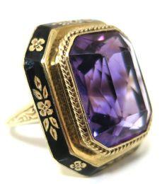 Scintillating Antique Art Deco 14K Gold, Amethyst and Enamel Ring