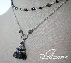Labradorite, freshwater pearl and hematite double necklace by Amaria