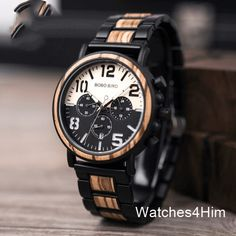 Shop & Buy Wooden Stainless Steel Watch Men Water Resistant Timepieces Chronograph Quartz Watches relogio masculino Men's Gifts Online from Aalamey Black Stainless Steel, Stainless Steel Watch, Men's Watches, Fancy Watches, Modern Watches, Fashion Watches, Wooden Tie, Watch Gift Box, Bracelets