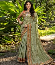 Chanderi Silk Chanderi Silk Saree, Silk Sarees, Long Cut, Blouse Online, How To Dye Fabric, Green Fabric, Head To Toe, Color Shades, Olive Green