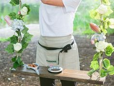Linen half apron - Florist apron - Handmade Apron - Natural linen - Custom embroidery - Barista apron - Vendor apron by SewMiracleAprons on Etsy