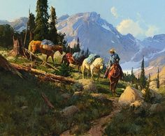Golden Lakes Trail by Bill Anton S/N LE Western Canvas Giclee Cowboy Pack Horses