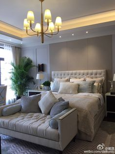25 Best Master Bedroom Ideas You're Dreaming of Note the lighting above the crown molding. Although I'm not sure why there's both a sconce & a lamp on the nightstand Best Farmhouse Master Bedroom Ideas Small Master Bedroom, Farmhouse Master Bedroom, Master Bedroom Design, Dream Bedroom, Home Decor Bedroom, Living Room Decor, Master Bedrooms, Bedroom Designs, Master Bath