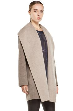 VINCE  Drape Hooded Coat in Heather Maple