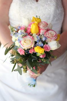 wedding flowers  bride bouquet  yellow, pink, blue  Roses, Tulips