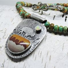 Turquoise Necklace Buffalo Bison Necklace Art Jewelry