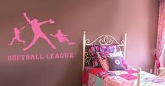 Softball Decal i want for my new idea of a sporty girl room !!