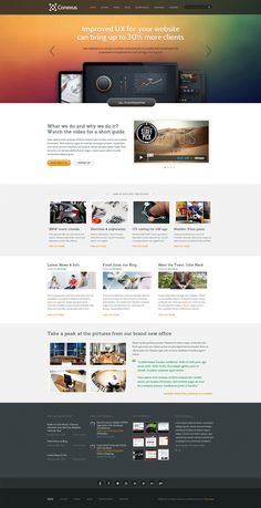 Conexus – - A responsive WordPress theme for various business segments that has all it takes to make customers call again and again. A great choice if you want your website to pack a punch. Wordpress Theme Design, Premium Wordpress Themes, Responsive Layout, Ui Web, Cool Themes, Web Design Inspiration, Design Ideas, Site Design, Service Design