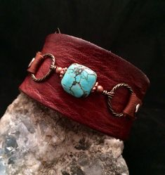 Handmade one of a kind leather cuff bracelet with turquoise stone on Etsy, by Keikos bead box