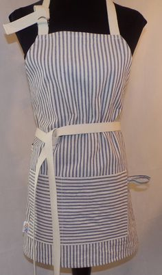 Adjustable Full Apron Men or Women's Striped by TheSisterhoot on Etsy
