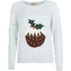 Pale Blue Polka Dot Pudding Christmas Jumper (16 CAD) ❤ liked on Polyvore featuring tops, sweaters, christmas, perrie, jumpers, christmas jumper, polka dot jumper, dot sweater, knit tops and knit sweater