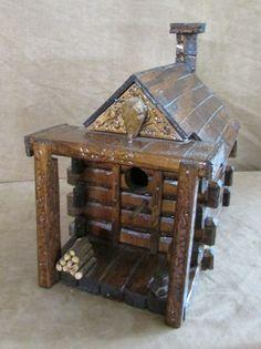 Birdhouse Folk Art Signed John Whiteside House Wooden log cabin rustic primitive #Handmade