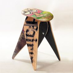 Kind of obsessed with furniture made out of other functional/rad stuff…this one is worth a look!!!  Fab.com Flash Sale. Recycled Skateboard Stool, 35% offFab.comThis small stool fills in small spaces—think tiny living rooms, guitar-player corners or behind a drum set. Crafted from broken skateboards (the legs hail from boards broken at the truck, the seat from a board cracked straight in half), the Skateboard Stool is a unique seat, designed and decorated with real street cred.