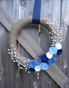Holiday Blue and White, Berry, Burlap and Felt Rosette Wreath.