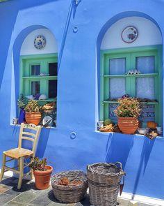 Kalymnos, Dodecanese, Greece (@denizkite) Viva Color, Wonderful Places, Beautiful Places, Greek Blue, Paradise On Earth, Greece Travel, Greek Islands, Windows And Doors, Santorini