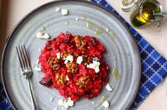 Bietenrisotto met feta, walnoten en muntolie - Francesca Kookt
