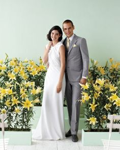 """Trade """"I do""""s with your groom in a faux field of glorious yellow flowers. It's one garden setting that you don't need a green thumb to cultivate."""