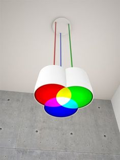 RGB Pendant Light. Way cool on a kids bedroom or a graphic designers office.