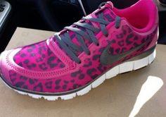 lepord nike running | Nike Free Women's Sneakers 5.0 8.5 Fushia Pink leopard Running Shoes ...