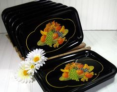 Vintage Black Enamel Metal Trays Set of 10 - Fruit Cornucopia Litho Decoration - Shabby Chic / BoHo Bistro Display $61.00 by DivineOrders